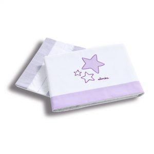 Set lenjerie 3 piese pentru patut 120×60 cm Purple Star